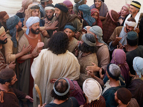 Large crowds had gathered to see Jesus too. – Slide 2