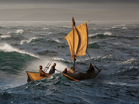 As can happen on Galilee a fierce wind swept across the water. The waves grew large and started sweeping over the sides of the boat. – Slide 4