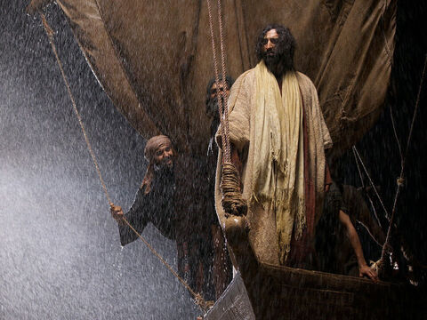 Jesus stood up in the swaying boat and addressed the storm. – Slide 7