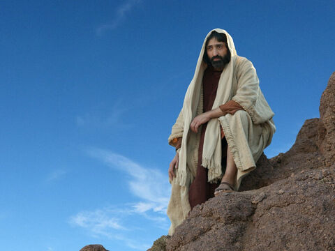 """'Get out of here, Satan,' Jesus told him. 'The Scriptures say, """"Worship only the Lord God. Obey only Him.""""' – Slide 9"""