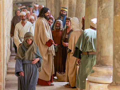 Jesus spoke these words near the offering box while he was teaching in the temple courts. No one seized Him because His time had not yet come. – Slide 9