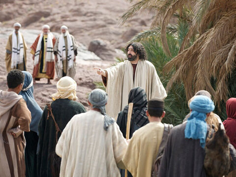 When Jesus came down from the mountainside large crowds followed Him. – Slide 1