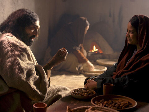 When Jesus and His disciples came to a village a woman named Martha invited them to her home to eat. She had a sister called Mary, who sat listening to Jesus. – Slide 1