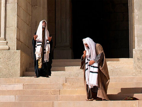 'Two men went up to the temple to pray, one a Pharisee and the other a tax collector. – Slide 2