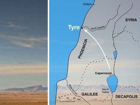 Jesus and His disciples left the region of Galilee and went to the foreign region of Syrian Phoenicia near Tyre. – Slide 1