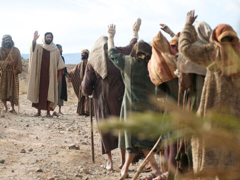 They stood at a distance and shouted loudly, 'Jesus, Master, have pity on us!' – Slide 4