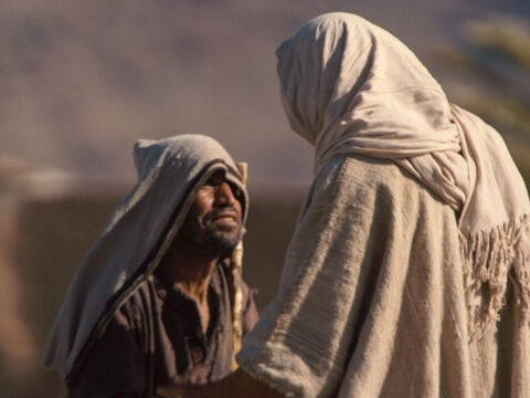 One of the ten men, a Samaritan, when he saw he was healed, ran back to Jesus, praising God in a loud voice. He threw himself at Jesus' feet and thanked Him. – Slide 9