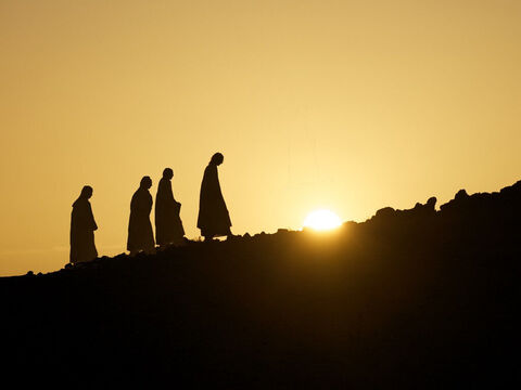 Jesus took Peter, James and John and led them up a high mountain to pray. They were all alone. – Slide 1
