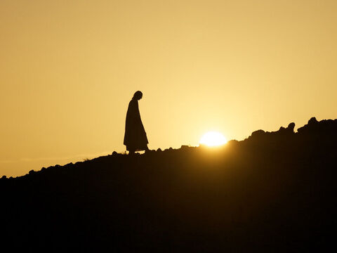 After the crowds had gone, Jesus went up a mountainside by himself to pray. – Slide 2