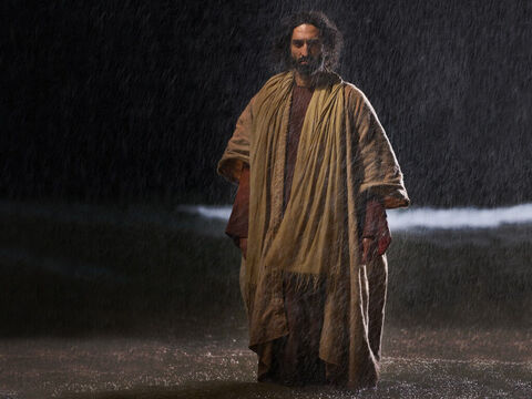 Shortly before dawn Jesus went out to them, walking on the water. – Slide 4