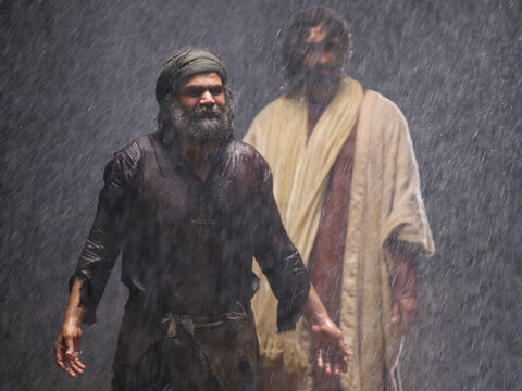 Jesus and Peter moved back to the boat and climbed in. – Slide 13