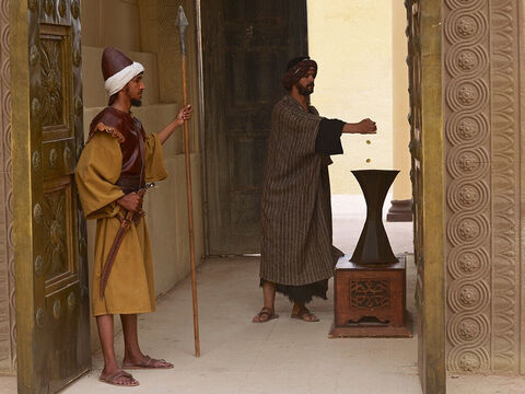 He watched as people came to give their offerings to God and put money into the temple treasury. – Slide 2