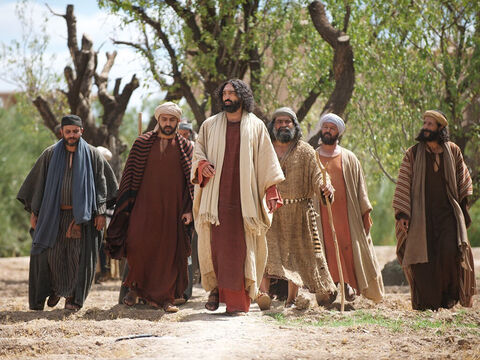 The followers of Jesus and a large crowd were with Him. – Slide 3
