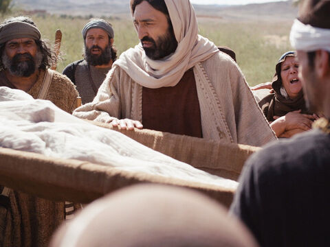 Then Jesus went over to the coffin and touched it. – Slide 8