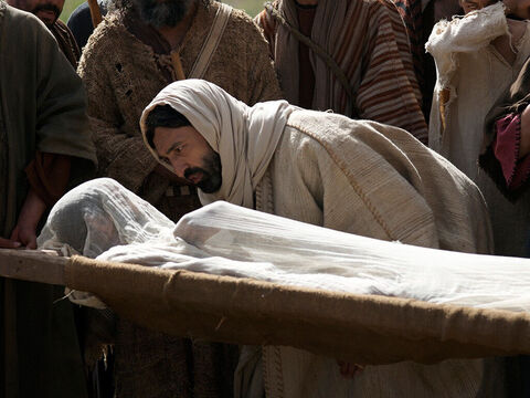 Jesus said to the dead body, 'Young man, I tell you, get up!' – Slide 10