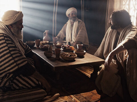 When a Pharisee called Simon invited Jesus to a meal at his home, Jesus accepted the invitation. The guests relaxed on couches around the meal table. – Slide 1