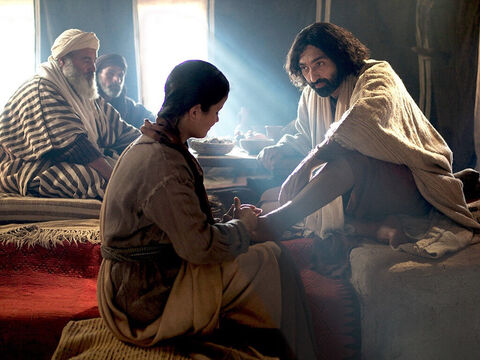 Then Jesus turned to the woman and said to Simon, 'Look at this woman! When I entered your home, you didn't wash the dust from my feet, but she has washed them with her tears and wiped them with her hair. You refused me the customary kiss of greeting, but she has kissed my feet again and again. – Slide 10