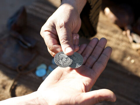 'To their surprise, the workers who were hired late in the afternoon and had only worked for an hour were given a full pay - a denarius. – Slide 12