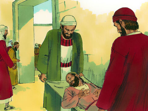 It was three in the afternoon and Peter and John were going up to the Temple to pray. A man who had been lame from birth was being carried to the Temple gate called Beautiful. He sat at the gate each day begging from those going into the Temple courts. – Slide 1