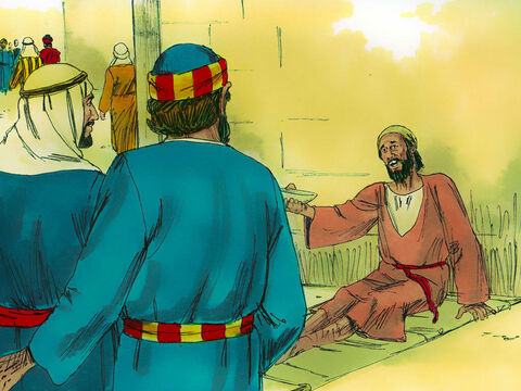 When the lame man saw Peter and John going into the Temple, he asked them for money. – Slide 2