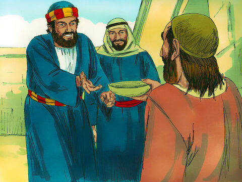 Peter and John both looked straight at him. Peter said, 'Look at us.' The man looked at them hoping for money. Peter continued, 'I don't have silver or gold but I'll give you what I have. In the name of Jesus Christ of Nazareth get up and walk.' – Slide 3
