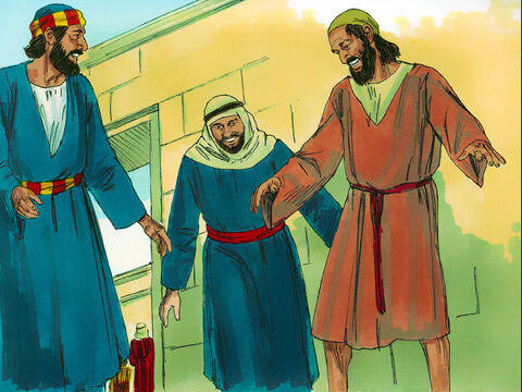 Peter took him by the hand and helped him to his feet. Instantly the mans ankles and legs became strong. – Slide 4