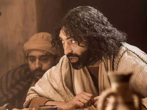 While they were eating, Jesus said, 'One of you will betray me.' – Slide 1