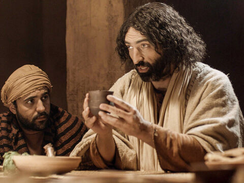 Jesus took the cup and gave thanks. 'Take this and divide it among you for I will not drink wine again until the Kingdom of God comes,' He told them. – Slide 5