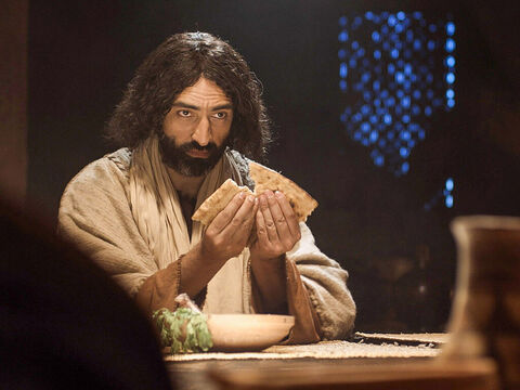 Then He broke it saying, 'This is my body given for you. Do this to remember me.' The bread was passed around for each to break and eat. – Slide 7