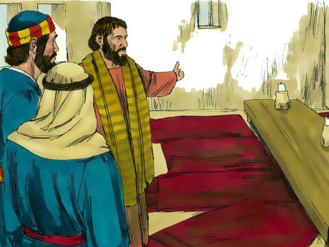 Peter and John told the owner of the house, 'Our Teacher would like you to show us the guest room where He can eat the Passover meal with his disciples.' The owner showed them into a large upper room. – Slide 3