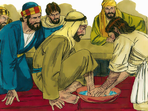 When Jesus and the disciples arrived, there was not a servant to wash their feet. So Jesus poured water into a basin, and began to wash the disciples' feet and to wipe them with a towel – Slide 5