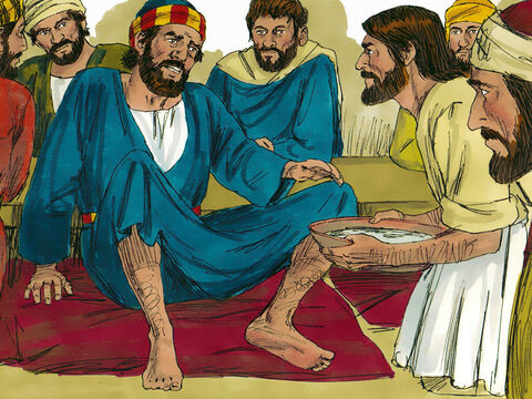 Peter said to Him, 'Master, you shouldn't be washing our feet like this!'Jesus replied, 'You don't understand now why I am doing it, some day you will.''No,' Peter protested, 'You shall never wash my feet!' – Slide 6