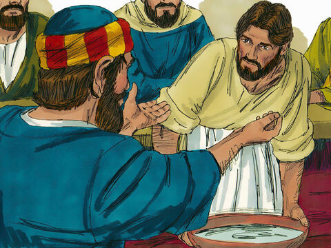 'But if I don't, you can have no part with me,' Jesus replied.Peter exclaimed, 'Then wash my hands and head as well—not just my feet!' – Slide 7