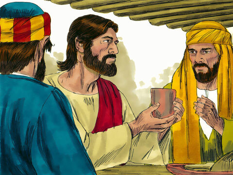 Then He took a cup of wine and when He had given thanks, He gave it to them, saying, 'Drink from it, all of you. This is my blood of the covenant, which is poured out for many for the forgiveness of sins. I will not drink wine again until I drink it with you in my Father's kingdom.' – Slide 14