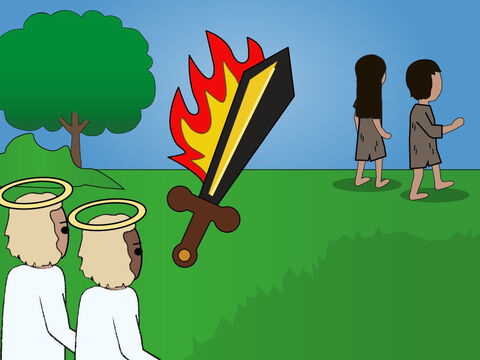 Genesis 3. <br/>Adam and Eve are deceived by the serpent and disobey God. They face the consequences of their actions and are banished. They are prevented from getting to the Tree of Life. – Slide 3