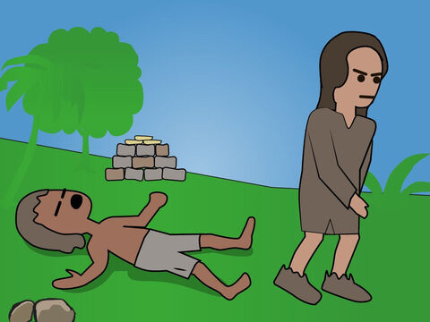 Genesis 4. <br/>Cain and Able make offerings and God accepts Able's offering of a slain sheep. Cain is jealous and kills Able. Adam and Eve have a son named Seth. – Slide 4