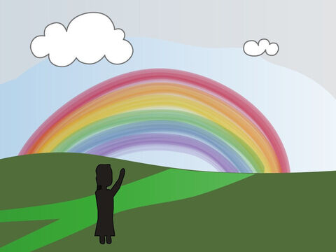 Genesis 9. <br/>God blesses Noah and his sons. God promises never to flood the whole earth again. – Slide 9