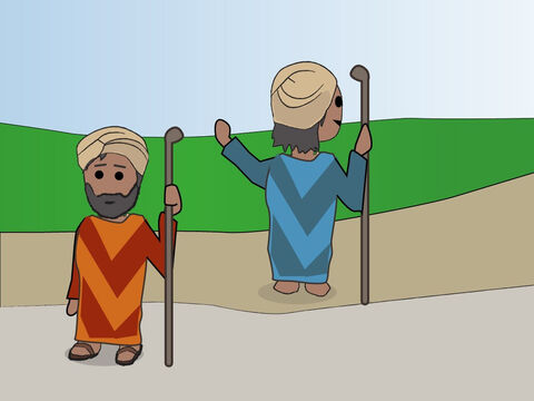 Genesis 13: <br/>Abram and Lot do not have enough pasture to share so they go their different ways. – Slide 4