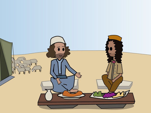 Genesis 26. <br/>Abimelech protects Isaac. God blesses Isaac and repeats His promise that his descendants will become a great nation. Isaac and Abimilech eat a peace meal together. – Slide 4