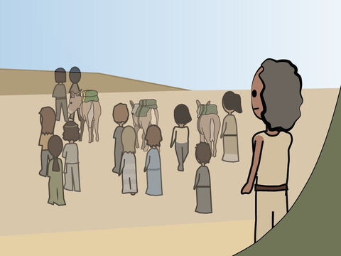 Genesis 42. <br/>When a famine comes to Canaan Jacob sends his sons to Egypt for grain. <br/>They meet Joseph but do not recognise him. Joseph keeps Simeon as a hostage. – Slide 7