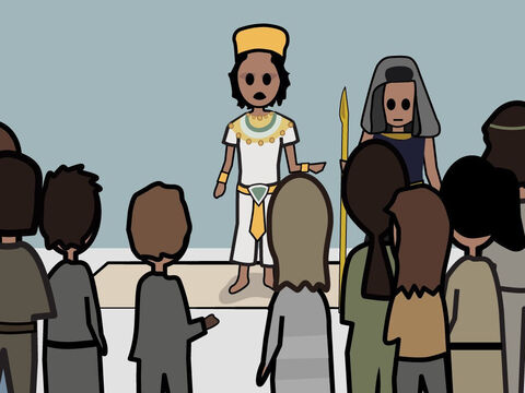 Genesis 43. <br/>The brothers, including Benjamin, return to Egypt for more grain. They are given a meal by Joseph. – Slide 8