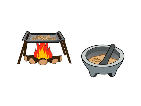 It was then dried by fire and roasted before being ground into fine grain. – Slide 14