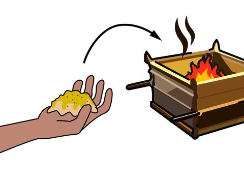 The priests then burnt a memorial portion of the crushed grain and oil as an offering to God. – Slide 16