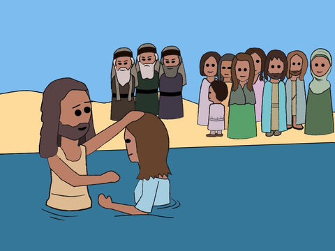 When they confessed their sins, John baptised them in the River Jordan. – Slide 6