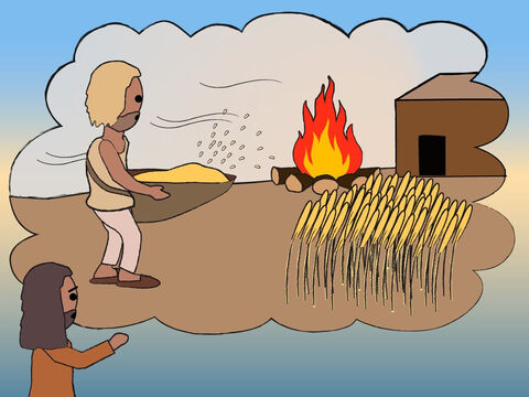 'He will separate the chaff from the grain, burning the chaff with never-ending fire and storing the grain.' – Slide 15