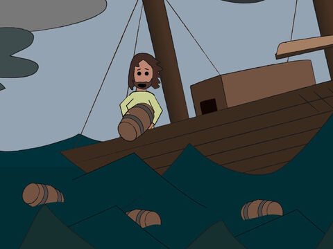 The frightened sailors shouted to their gods for help and threw the cargo overboard to lighten the ship. – Slide 6