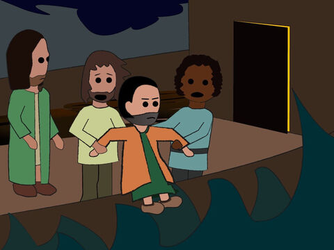 Then they picked up Jonah and threw him overboard into the raging sea. – Slide 15