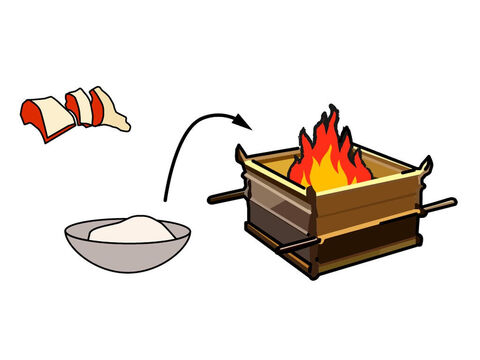 The animal was then cut up, and the fat and certain organs removed. This was was placed on top of the already burning burnt and meal offerings. – Slide 4