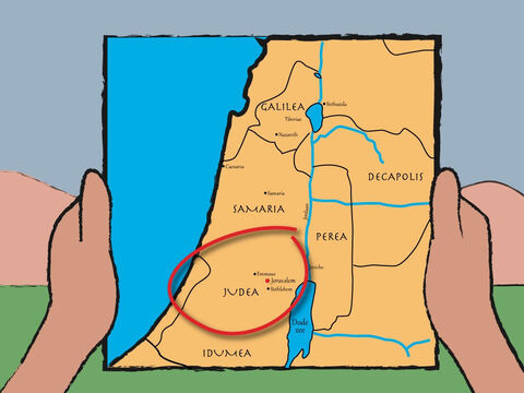His wife Elizabeth came from the family of Aaron. Zecharias and Elizabeth lived near the big city of Jerusalem in Judea. – Slide 2