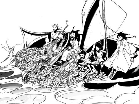 Soon both boats were filled with fish and on the verge of sinking. – Slide 9